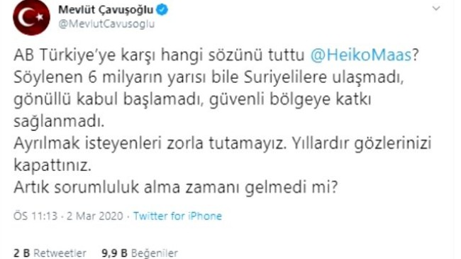 Göçmen krizi büyüyor! Çavuşoğlu, sosyal medyada Alman mevkidaşıyla restleşti