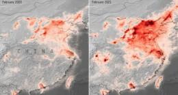 Normalleşmenin ardından hava kirliliğinin arttığını gösteren uydu görüntüsü